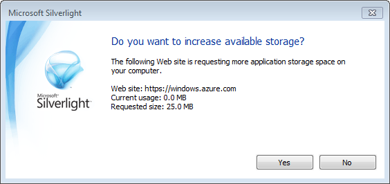 Windows Azure Portal - Increase Isolated Storage
