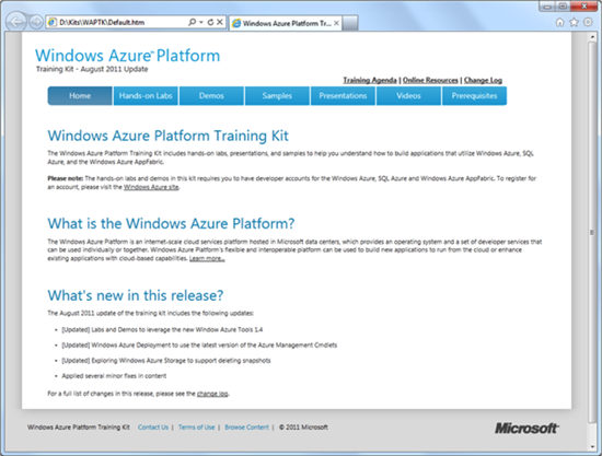 Windows Azure Platform Training Kit