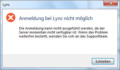 Fehlermeldung - Anmeldung bei Lync nicht möglich