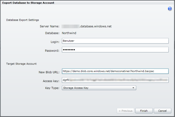 Export Database to Storage Account (Dialog)