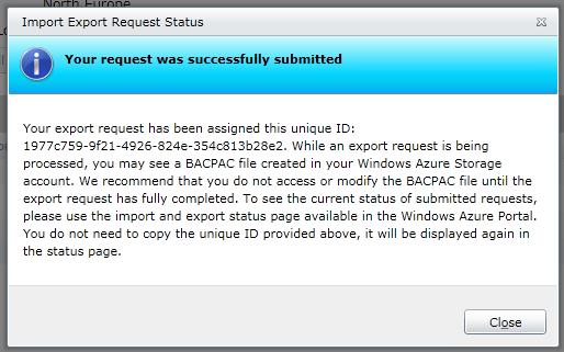 Export Database to Storage Account (Bestätigung)