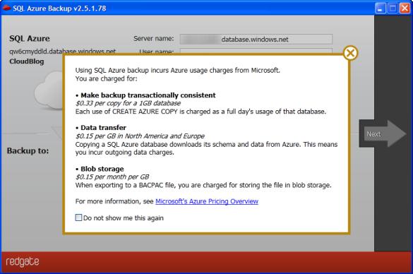 SQL Azure Backup - Kostenübersicht