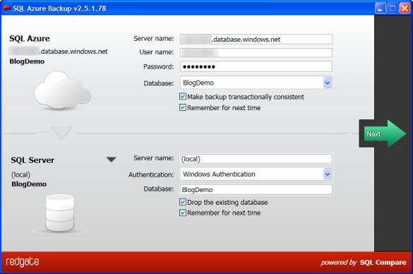 SQL Azure Backup - Verbindungsdaten