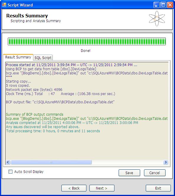 SQL Azure Migration Wizard - Skripterstellung