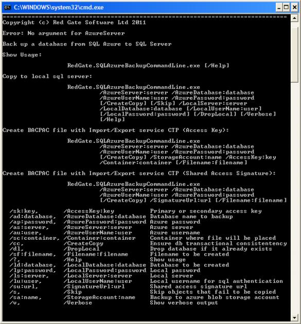 SQL Azure Backup - Kommandozeilentool