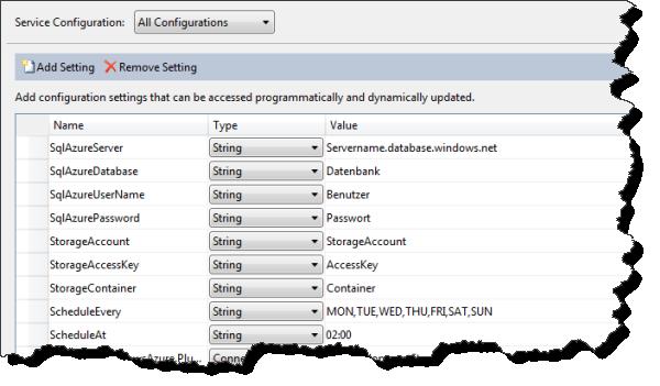 SQL Azure Backup - Cloud-Projekteinstellungen