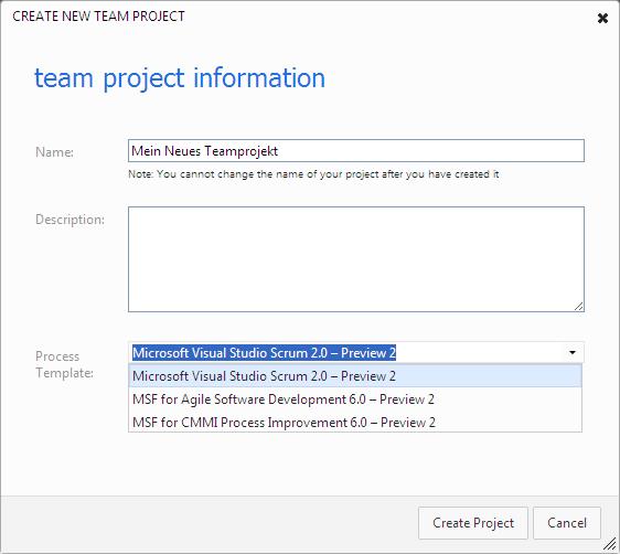 TFS Preview - Neues Teamprojekt