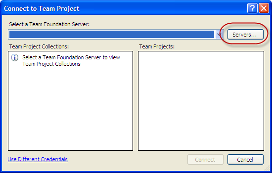 Visual Studio 2010 - Connect to Team Project