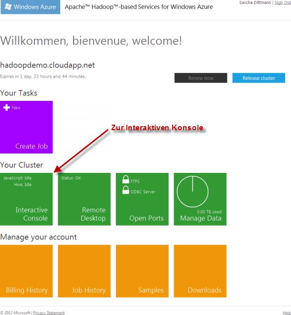 Azure Hadoop - Dashboard