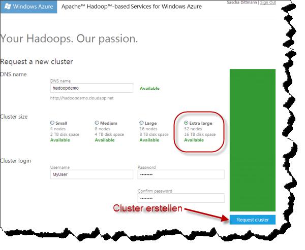 Apache Hadoop für Windows Azure - Neues Cluster anfordern