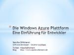 Die Windows Azure Plattform - Eine Einführung für Entwickler