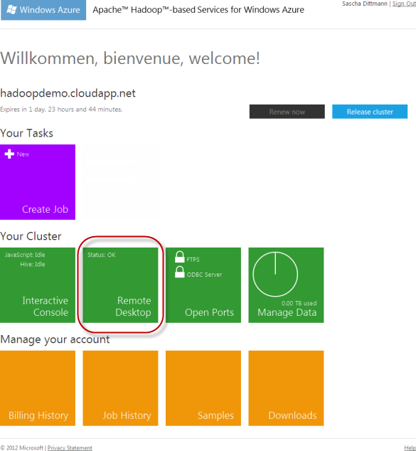 Azure Hadoop - Dashboard - Remote Desktop