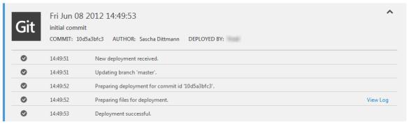 Windows Azure Web Site - Active Deployment Details