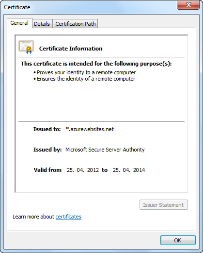 SSL Zertifikat der Windows Azure Web Sites
