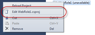 Solution Explorer - Context Menü - Open *.csproj