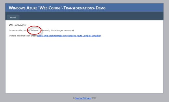 Web Rolle - Nach den Änderungen in der Cloud