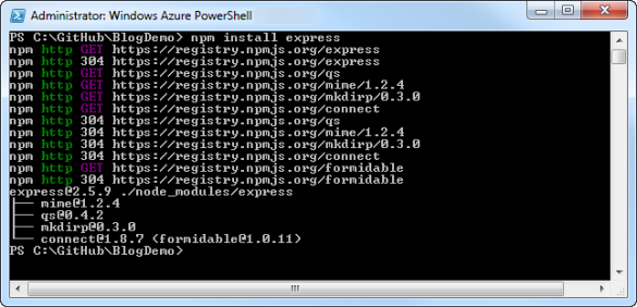Windows Azure PowerShell - Express.js Modul installieren