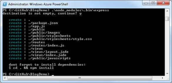 Windows Azure PowerShell - Generieren einer Express-Anwendung