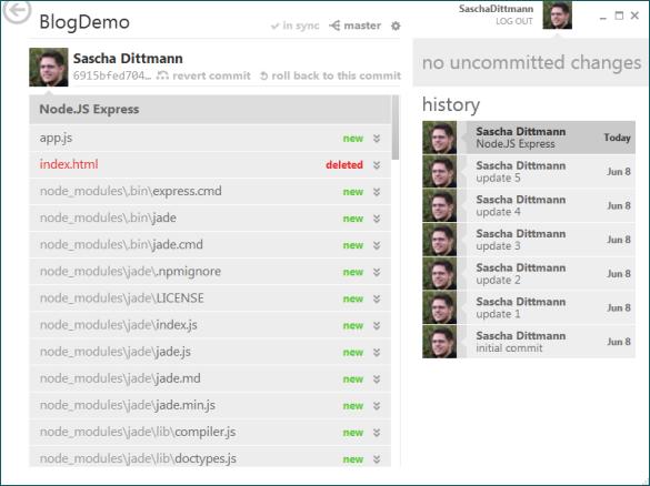 GitHub for Windows - Veröffentlichte Node.js Applikation