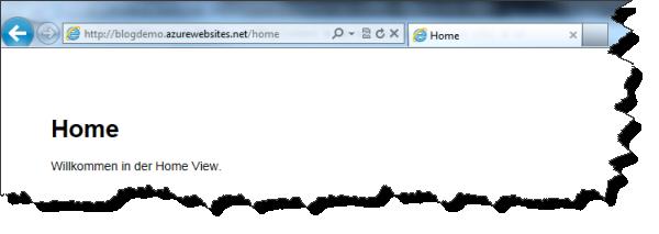 Windows Azure Node.js Applikation (Home View)