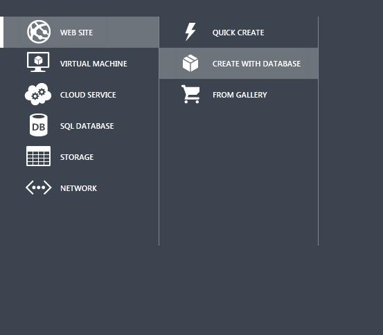 Windows Azure Web Sites - Create with Database