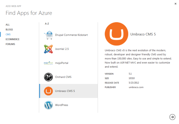 Windows Azure Web Sites Gallery