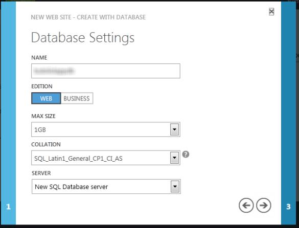 Windows Azure Web Sites - Database Settings