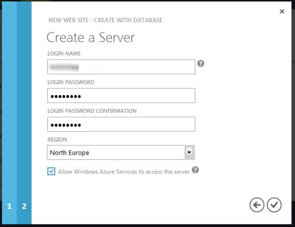 Windows Azure Web Sites - Create a Database Server