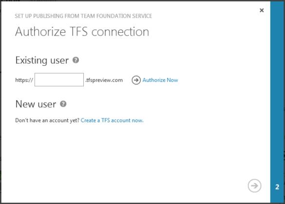 Windows Azure Web Site - Authorize TFS connection