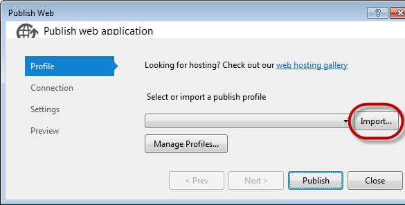 Windows Azure Web Site - Visual Studio Import