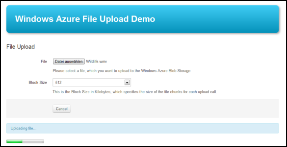 Windows Azure File Upload Demo - Während des Upload-Vorgangs