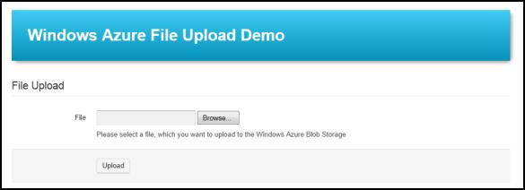 Windows Azure File Upload Demo - Vor dem klassischen Datei-Upload
