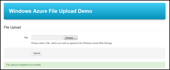 Windows Azure File Upload Demo - Abgeschlossener Datei-Upload