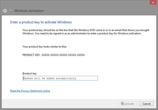Windows 8 Activation Wizard