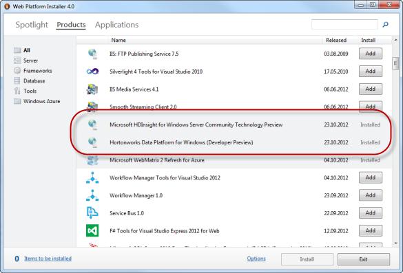 Web Platform Installer - Microsoft HDInsight für Windows Server CTP