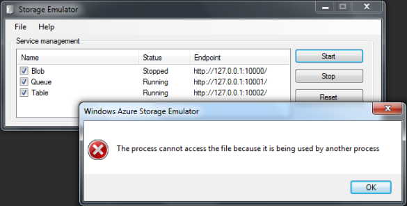 Windows Azure Storage Emulator - The process cannot access the file because it is being used by another process