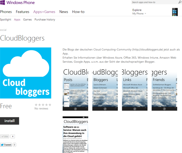 CloudBloggers App im Windows Phone Store