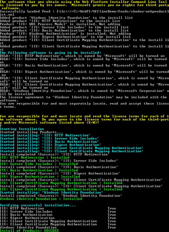 WebPICmd: Installation aus dem Offline Cache
