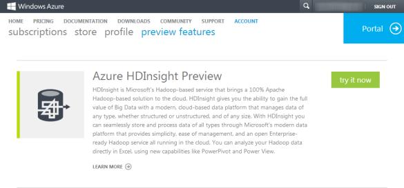 Anmeldung zur Azure HDInsight Preview