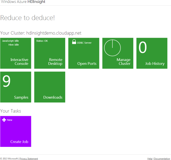Hadoop-On-Azure Preview - Dashboard