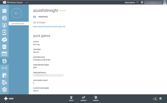 Windows Azure HDInsight Dienst im Management Portal