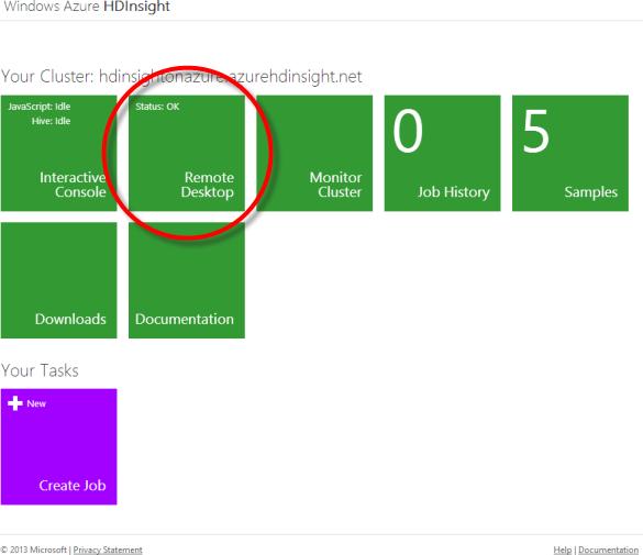 Windows Azure HDInsight - Dashboard