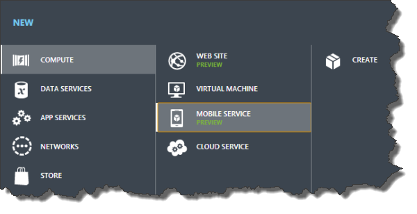 Windows Azure Management Portal - Neuen Mobile Service erstellen