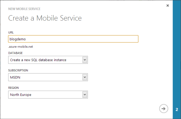 Windows Azure Management Portal - Mobile Service Assistent Schritt 1