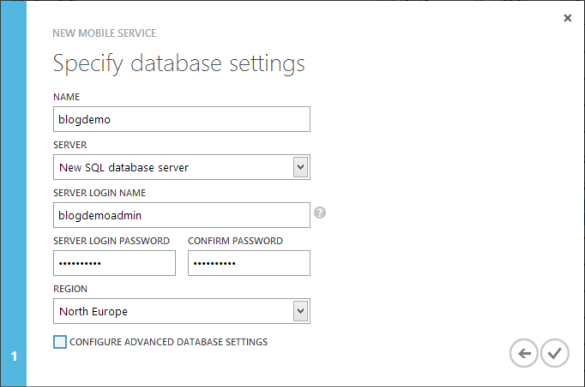 Windows Azure Management Portal - Mobile Service Assistent Schritt 2