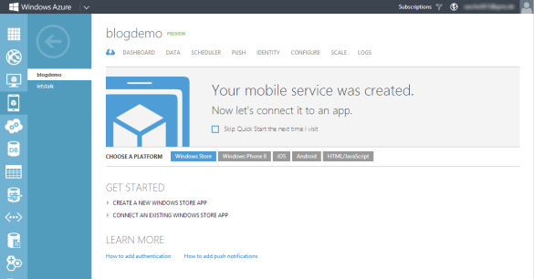 Windows Azure Management Portal - Mobile Service Quick Start