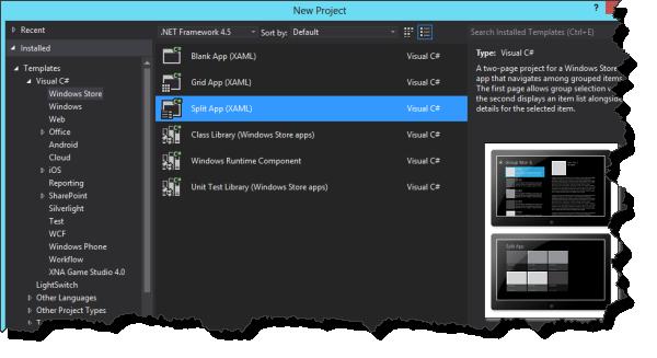 Visual Studio 2012 - Windows Store App Auswahl