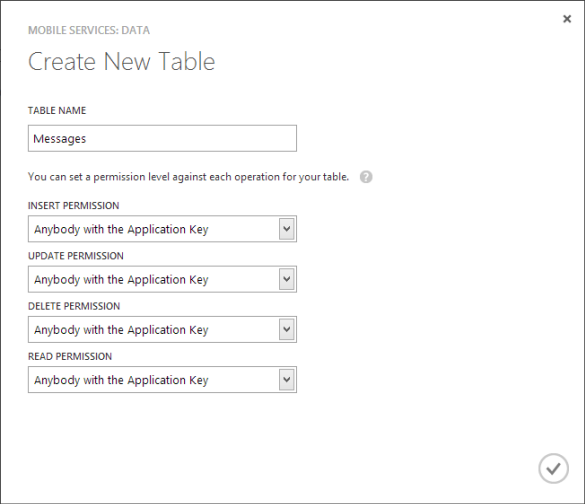 Windows Azure Mobile Services - Add First Table Dialog