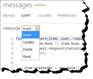 Windows Azure Mobile Services - Tabellenskripte