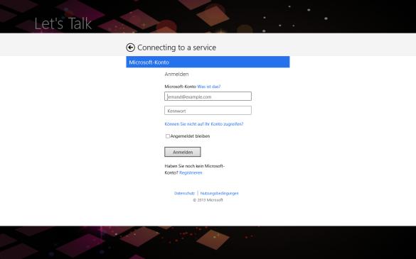 Windows Store App - Eingabe des Microsoft Accounts